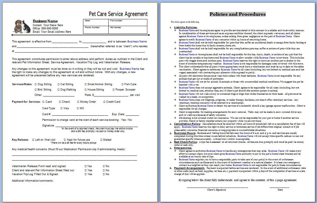 essential pet sitting business forms